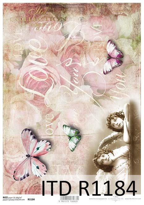 papier decoupage Vintage, anioły, motyle*Vintage decoupage paper, angels, butterflies