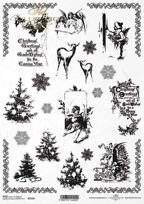 Papel de arroz, Navidad, Vintage, Árbol de Navidad, Cupidos, Copos de nieve, Inscripciones*Reispapier, Weihnachten, Vintage, Weihnachtsbaum, Amoren, Schneeflocken, Inschriften*Рисовая бумага, Рождество, винтаж, елка, амуры, снежинки, надписи