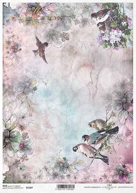 Papel de decoupage de primavera, pájaros, flores*Frühlings-Decoupage-Papier, Vögel, Blumen*Весенняя декупаж бумага, птицы, цветы