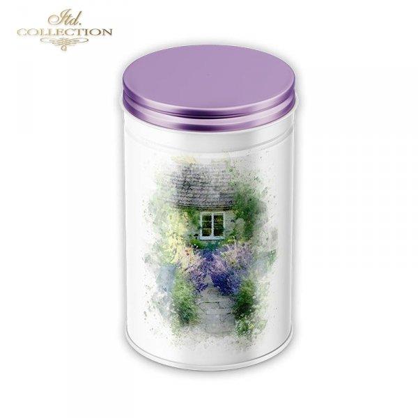example 02 - papier ryżowy decoupage Akwarele,romantyczne kawiarenki, ukwiecony taras, lawendowa ścieżka, dom w kwiatach, lato