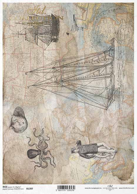 mapa de papel decoupage, velero, motivos náuticos*Decoupage Papierkarte, Segelschiff, nautische Motive*карта декупажа, парусник, морские мотивы