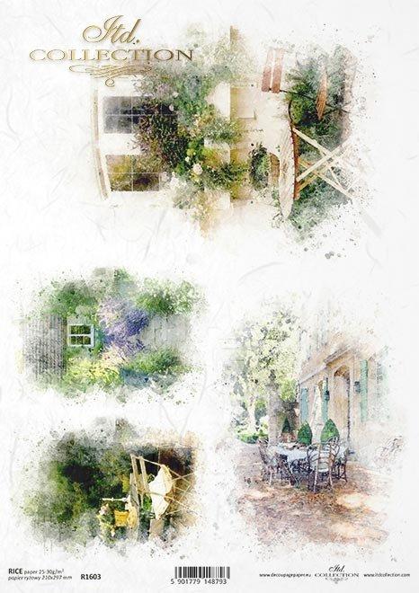 Aquarelle, romantische Cafes, Blumenterrasse, Lavendelpfad*Acuarelas, cafés románticos, terraza de flores, camino de lavanda.*Акварели, романтические кафе, цветочная терраса, лавандовая дорожка