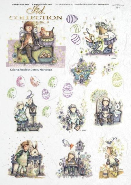 Wielkanoc, aniołek, aniołki, aniołkowo, Jajko, jajka, pisanka, pisanki, kwiat, kwiaty, kwiatek, kwiatki, ptaszek, zając, zajączek, Dorota Marciniak, R075
