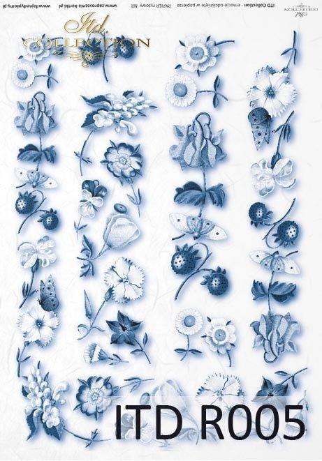 papier ryżowy decoupage - kwiaty, motyle, poziomki*rice paper decoupage - flowers, butterflies, strawberries