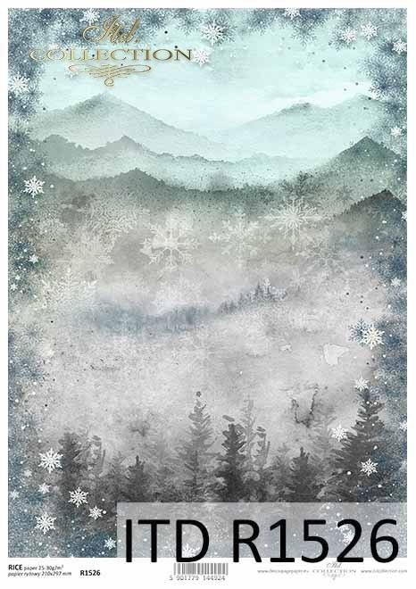 Papier decoupage z górskim widoczkiem, ramka ze śnieżynek*Decoupage paper with a mountain view, snowflake frame
