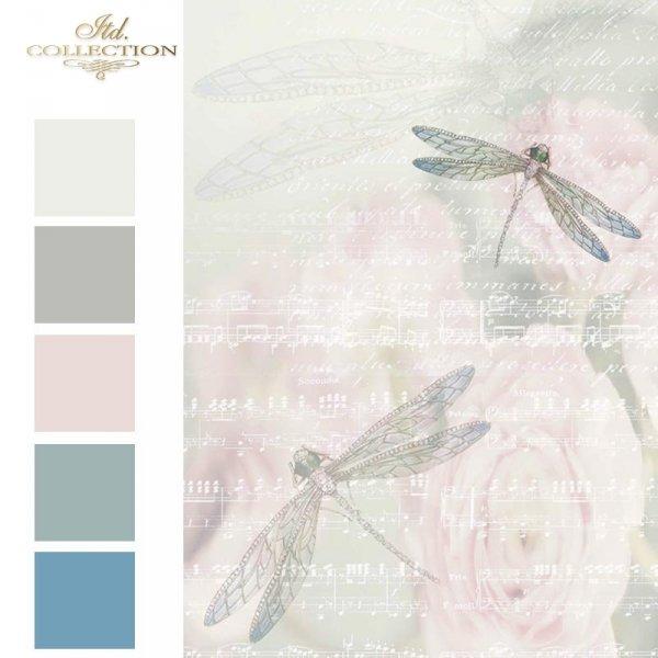 ważki-kwiaty-nuty-fantazyjne-rozmyte-tło-papier-decoupage-ryżowy-R0570