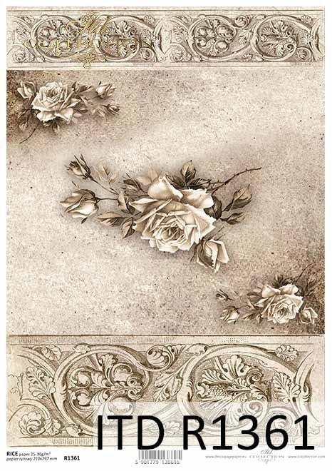 Papier decoupage kwiaty, róże, dekory, Vintage*Paper decoupage flowers, roses, decors, Vintage