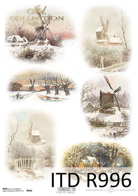 zima, śnieg, zimowe widoczki, wiatraki, wiatrak,