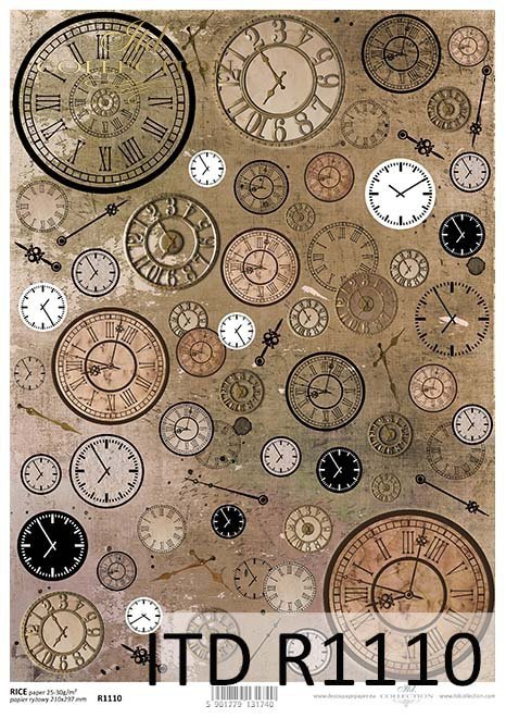 Papier decoupage zegary*Paper decoupage clocks