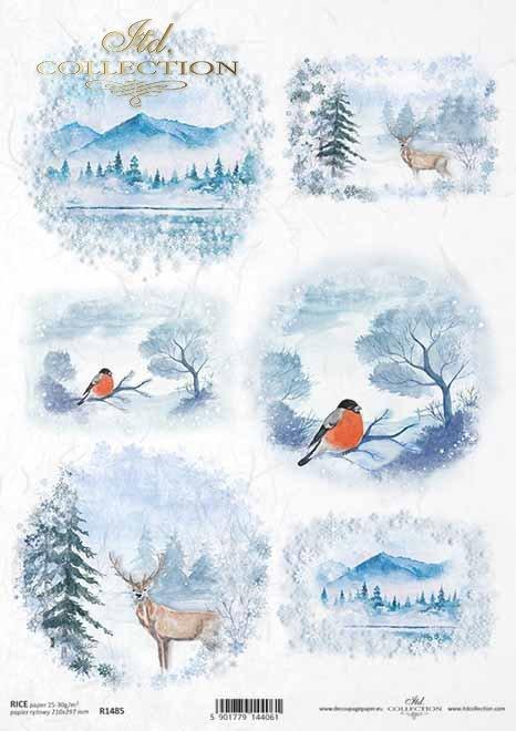 vistas de invierno, montañas, cervatillos, pájaros*Winteransichten, Berge, Kitze, Vögel*зимние виды, горы, оленеводы, птицы