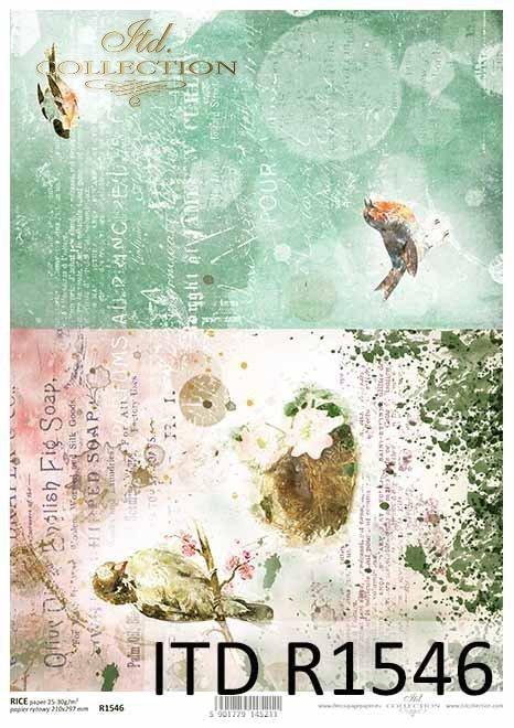 Papier decoupage ptaki, Vintage, kolaż*Paper decoupage birds, Vintage, collage