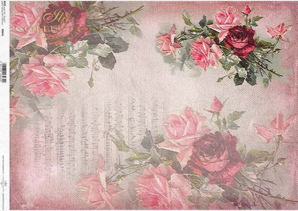arroz papel decoupage flores, rosas, notas*Reispapier Decoupage Blumen, Rosen, Notizen