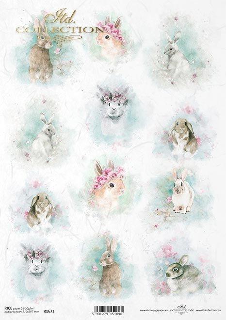 Shabby Chic, akwarele, wiosna, Wielkanoc, zwierzęta wielkanocne, pastelowe kolory*Shabby Chic, watercolours, spring, Easter, Easter animals, pastel colours