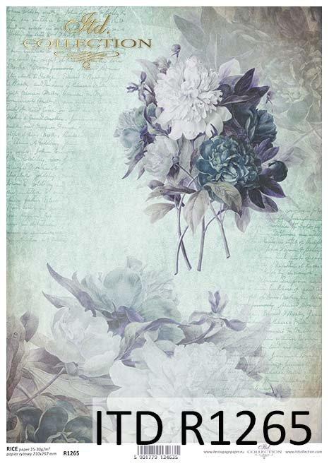 papier decoupage Vintage, niebieskie piwonie*Paper decoupage Vintage, blue peonies