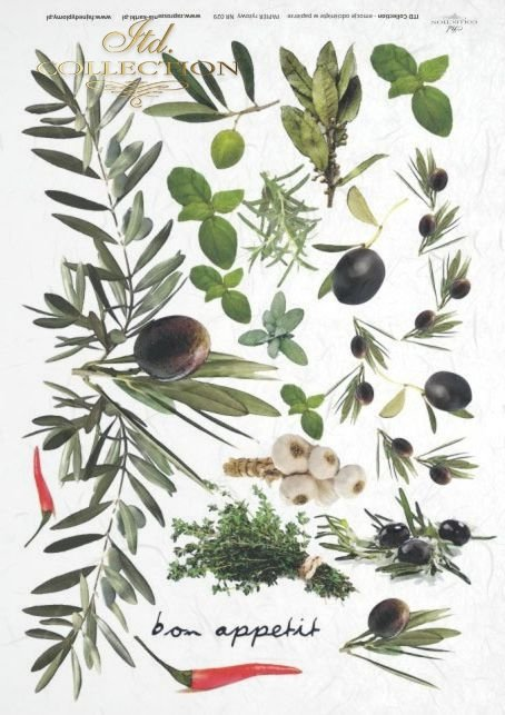 fruits herbs, garlic, paprika and olives, rosemary, basil, marjoram, bay leaves, R029