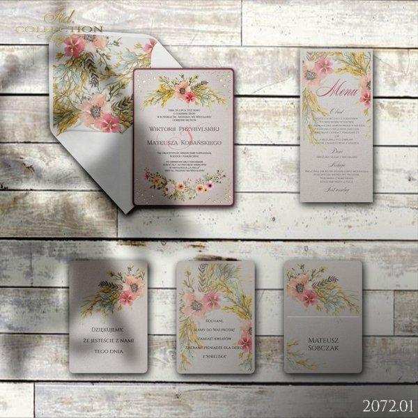 Zaproszenie 2072 * Zaproszenia ślubne * menu * winietka * koperta z wklejką - wersja 1