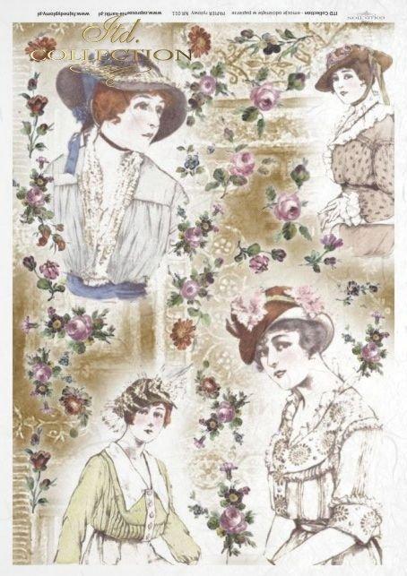 retro, vintage style, decoupage rice paper - woman, women, women's hats, hat, fashion