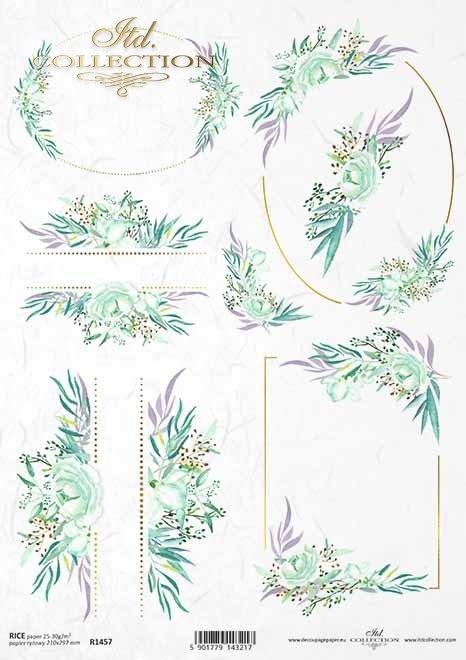 akwarele-kwiaty-listki-malutkie-kompozycje-roślinne-ramki-narożniki-dekory-roślinne-motywy-ślubne-na-skrzyneczki-pudełka-prezentowe-papier-decoupage-ryżowy-R1457