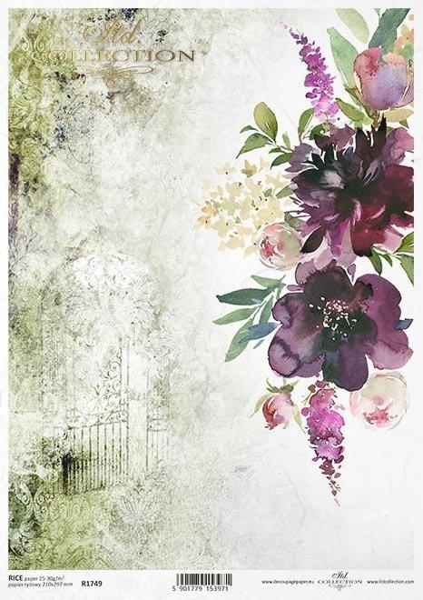 """""""Podróż marzeń""""-Tajemniczy ogród, furtka, brama, drzwi, kwiaty, kolaż z kwiatami"""