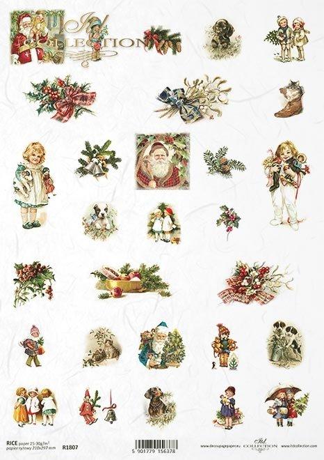 Małe grafiki na kalendarz adwentowy, grafiki na bombki, świąteczne motywy, świąteczne grafiki retro