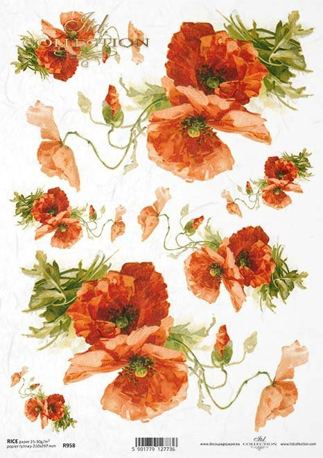 Rice paper r958 decoupage paper flowers poppies rice paper r0958 mightylinksfo