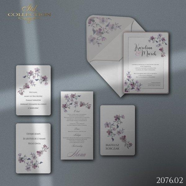 Zaproszenie 2076 * Zaproszenia ślubne * menu * winietka * koperta z wklejką - wersja 2