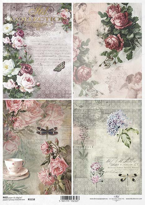 Rice paper r1158 paper for decoupage rice vintage flowers vintage papier decoupage blumen rosen schmetterlinge libellenklasick paprov decoupage mightylinksfo