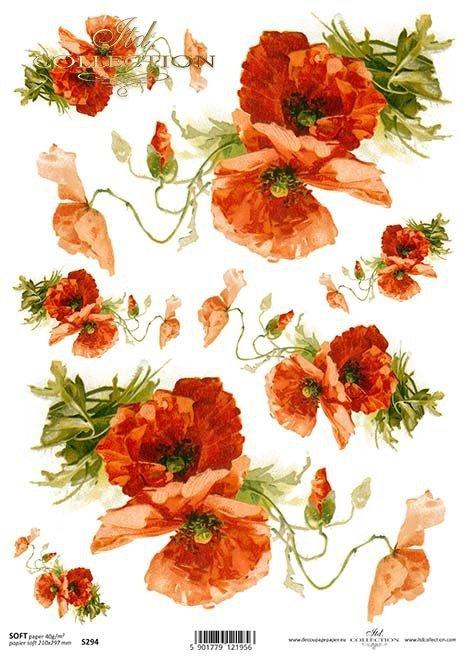 flores de papel decoupage*decoupage papírové květiny*decoupage Papierblumen