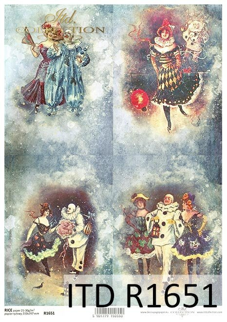 Pierrot enamorado, Pierrot y Columbine, fiesta de carnaval, noche loca de carnaval, carnaval en Venecia*Pierrot verliebt, Pierrot und Columbine, Karnevalsparty, verrückte Karnevalsnacht, Karneval in Venedig