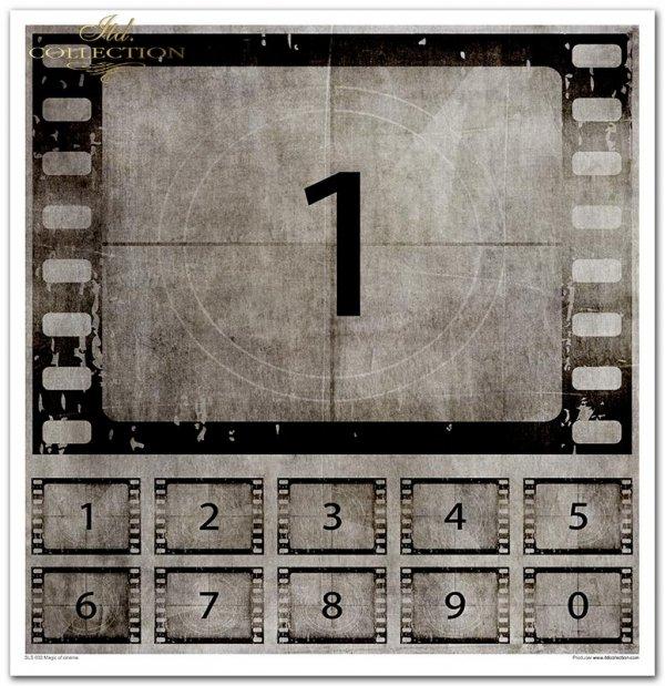 Seria Magic of cinema: magia kina, słynne aktorki, klisze, charlie chaplin, napisy, filmografia, kolaże, reżyser, kamery, klatki filmowe, klatka na kliszy, stopklatki, sceny, słynne sceny,  kadry filmowe, aktorzy, flip i flap, klaps, napisy the end