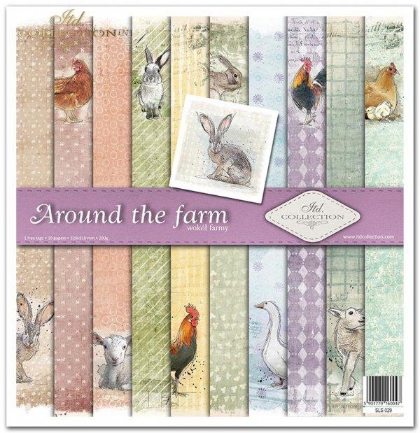 Around the farm: akwarele, zwierzęta, kura, kogut, zając, królik, gęś, owca, wzorki, tła, kropki, krzyżyki, kółeczka, paski, skosy, romby, kratka*Around the farm: watercolours, animals, chicken, rooster, hare, rabbit, goose, sheep, patterns, backgrounds,