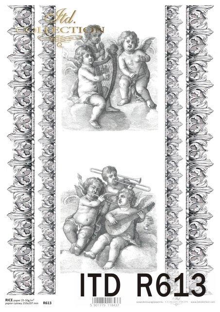 Papier ryżowy decoupage - putto.Amorki, ornamenty, dekory w stylu retro - R0613
