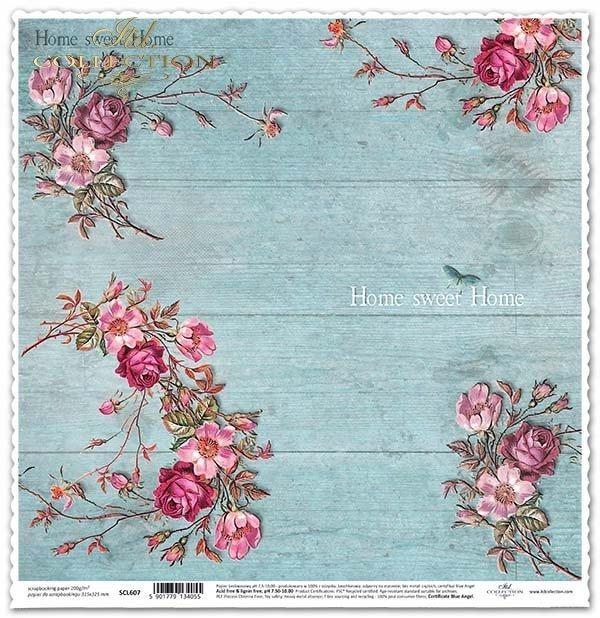 бумага для скрапбукинга, голубые доски, розы, цветы*papel para álbum de recortes, tableros azules, rosas, flores*Papier für das Scrapbooking, blaue Bretter, Rosen, Blumen