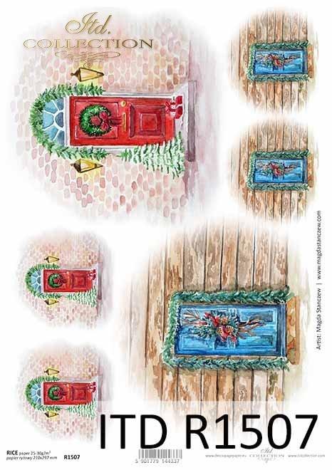 stylowe drewniane drzwi, okna z dekoracjami świątecznymi*stylish wooden doors, windows with holiday decorations