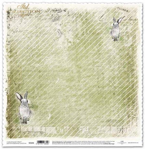 Scrapbooking Papier der Weinlese, Häschen*Papel de scrapbooking vintage, conejitos*Винтажная бумага для скрапбукинга, кролики