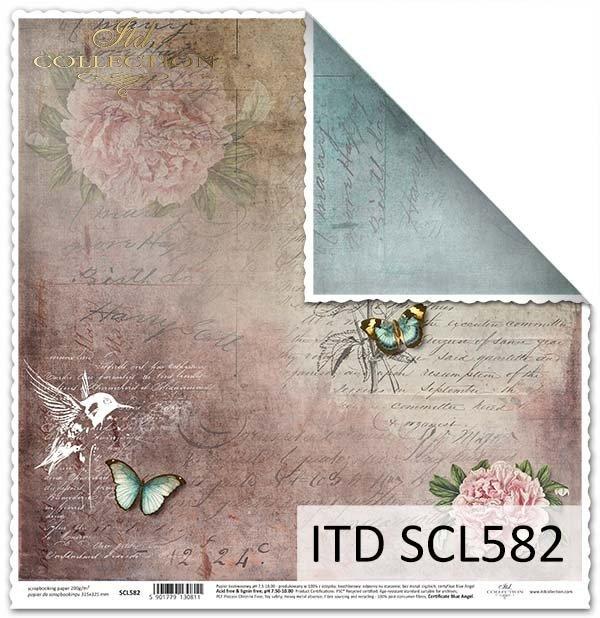 Papier do scrapbookingu - koliber,kwiaty, motyle*Paper for scrapbooking - hummingbird, flowers, butterflies