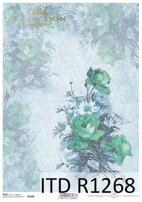 papier decoupage retro, kwiaty, róże*Paper decoupage retro, flowers, roses