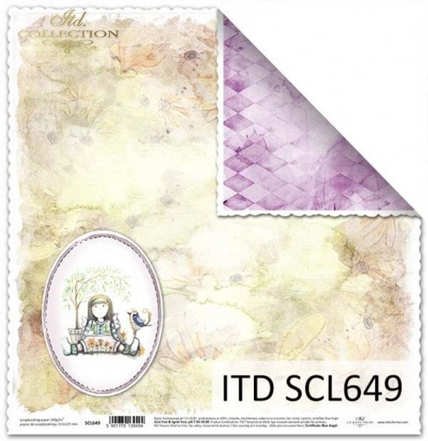 Papier dwustronny do scrapbookingu z aniołkami*Double-sided paper for scrapbooking with angels