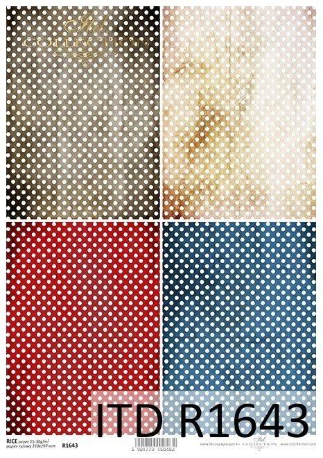 Papel de arroz con puntos blancos sobre fondos coloridos*Reispapier mit weißen Punkten auf bunten Hintergründen