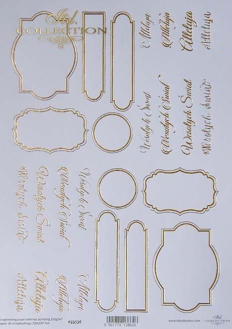 Papier specjalny do scrapbookingu, napisy świąteczne, złote ramki*Papel especial para scrapbooking, inscripciones navideñas, marcos dorados