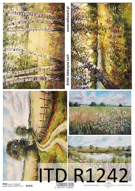 Papier decoupage malarstwo współczesne, sielskie pejzaże*Paper decoupage contemporary painting, idyllic landscapes