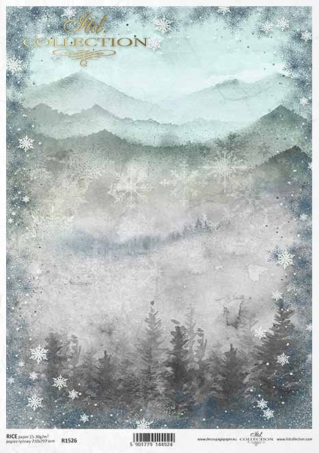 Papel decoupage con vista a la montaña, marco copo de nieve*Decoupagepapier mit Bergblick, Schneeflockenrahmen*Декупаж бумага с видом на горы, рамка снежинки