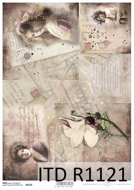 papier decoupage kwiaty, kartki, stare fotografie*Paper decoupage flowers, cards, old photographs