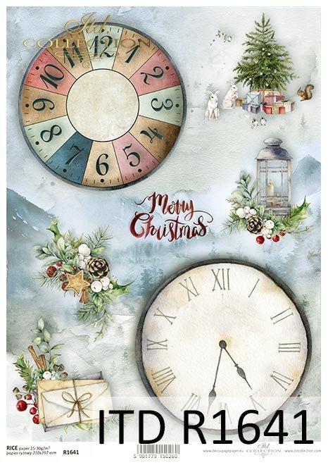 Papel de arroz - Navidad en rojo*Reispapier - Weihnachten in rot*Рисовая бумага - Рождество в красном