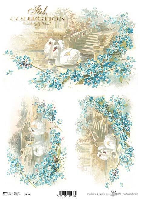 Papier decoupage Vintage-Schwäne*Papír decoupage Klasické Swans*papel decoupage cisnes Vintage