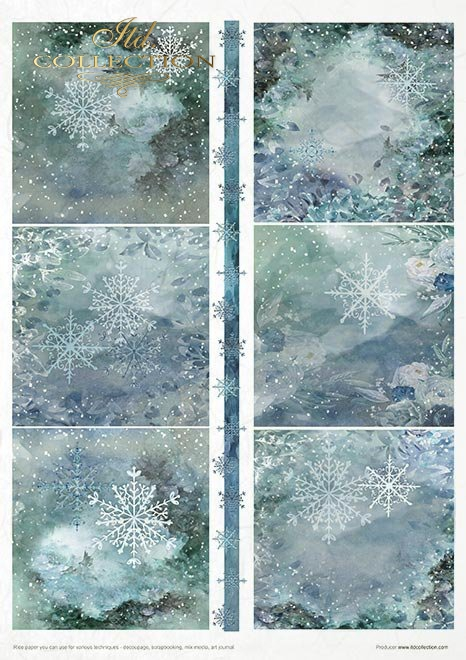 Zestaw kreatywny na papierze ryżowym - święta w błękicie * Creative set on rice paper - Christmas in blue