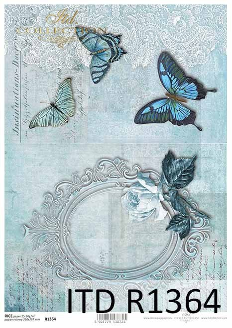 Papier decoupage stara ramka, motyle, Róża, Vintage*Decoupage paper with old frame, butterflies, rose, vintage