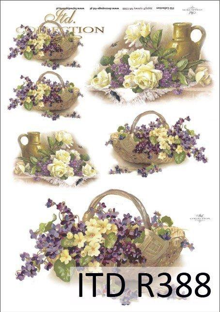 bukiet, bukiety, kwiaty, kosz kwiatów, kosze kwiatów,u vintage,retro, fiołki, róże, róża, R388