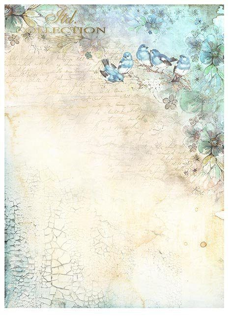 Zestawy-papierow-do-scrapbookingu-zestaw-Lato-w-blekitach-SCRAP-046-13-ptaszki-motylki-akwarelowe-kwiatki-mediowe-struktury-tla-struktury-farb-desek-spekalin-crak