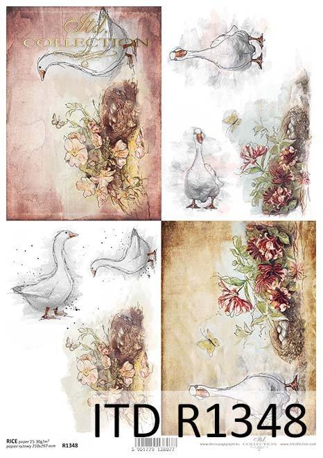 papier ryżowy decoupage gęsi, kwiaty*rice decoupage goose, flowers